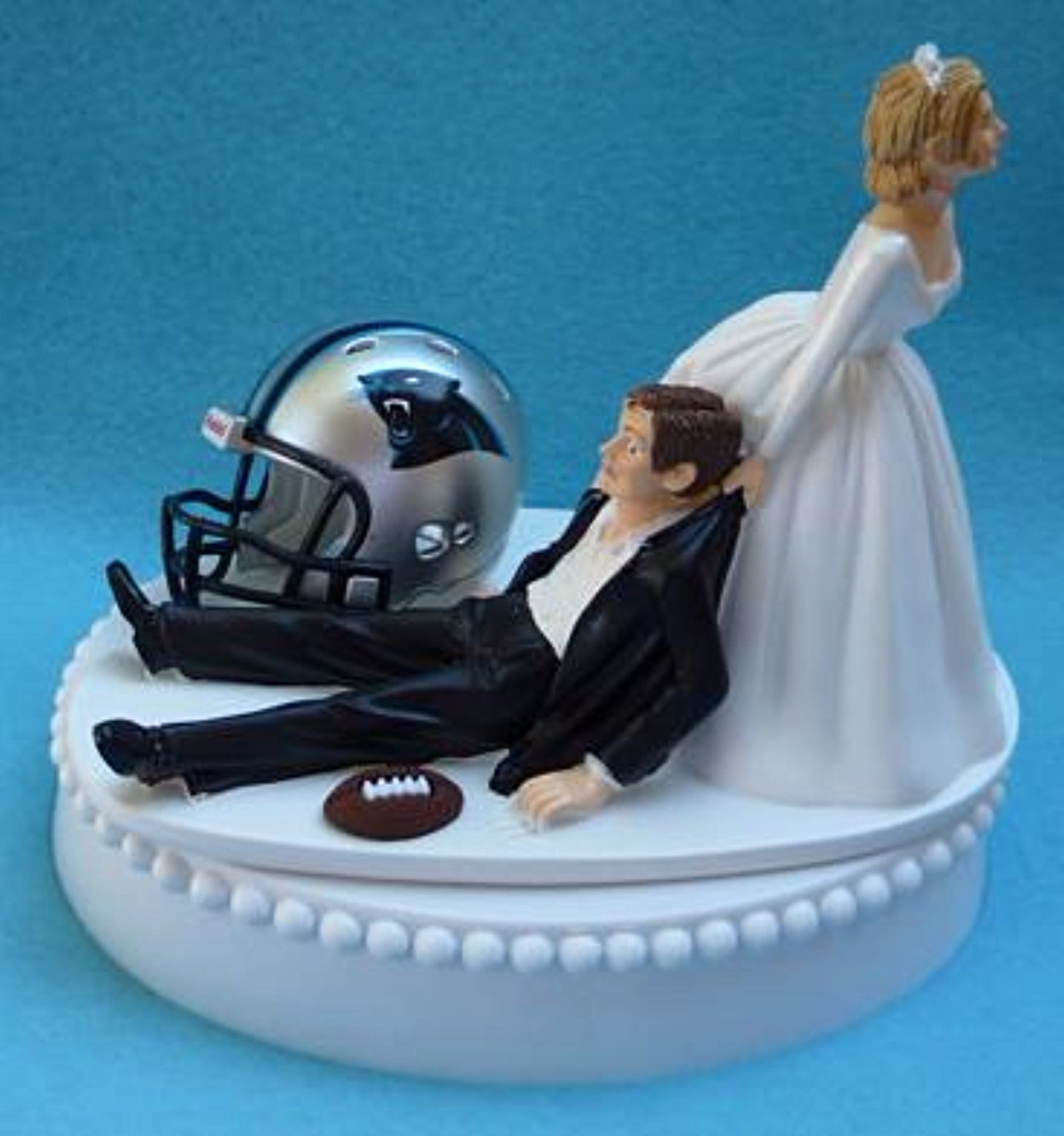 FunWeddingThings.com football NFL wedding cake topper Carolina Panthers sports fan humorous