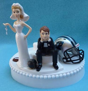 Carolina Panthers wedding cake topper NFL football sports fans bride dejected groom ball and chain key humorous funny fun