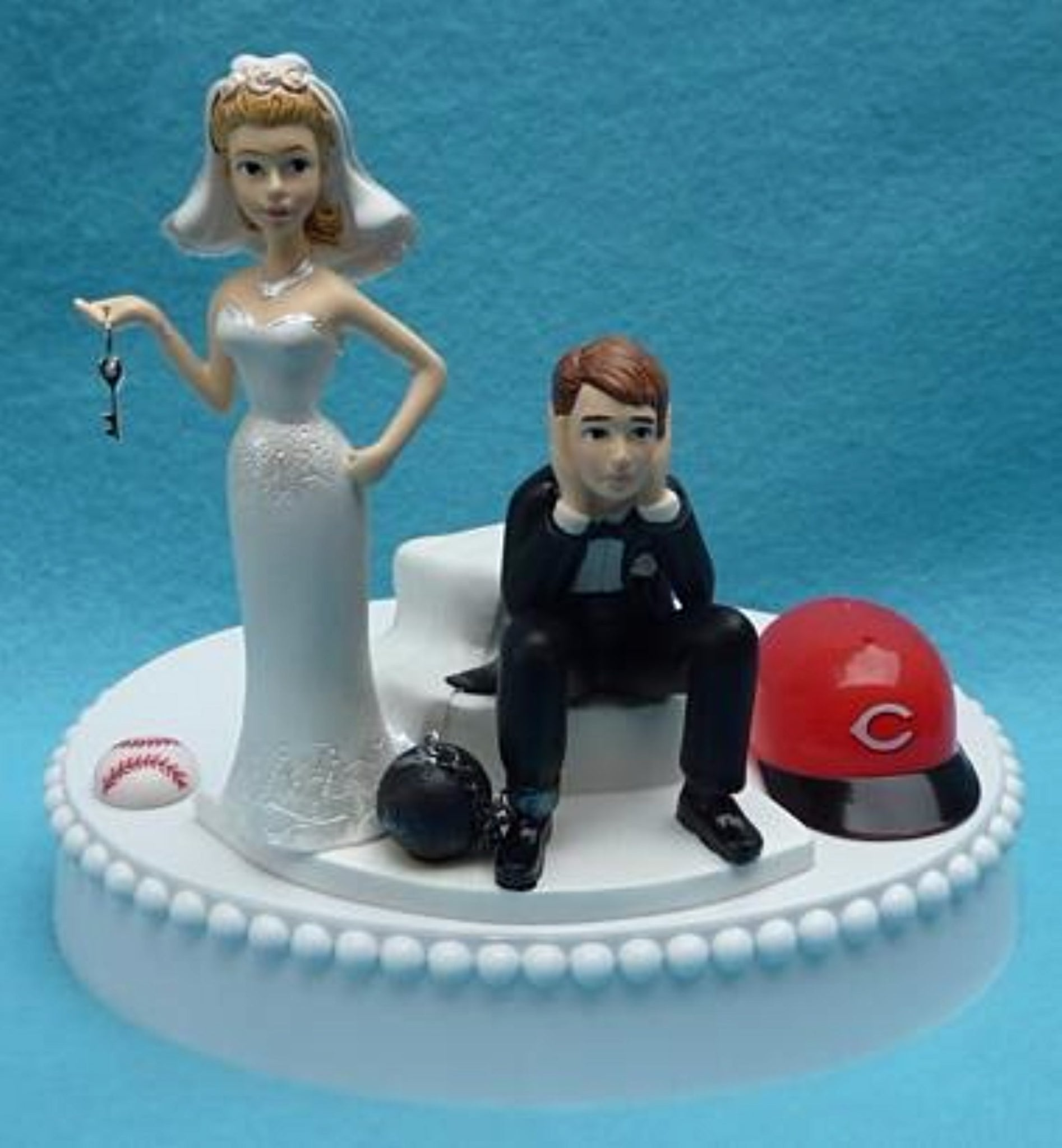 Wedding Cake Topper - Cincinnati Reds Baseball Themed Key
