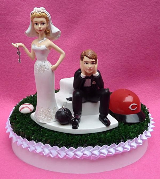 Cincinnati Reds cake topper wedding baseball groom's cake top MLB bride groom dejected humorous funny reception marriage sports fans