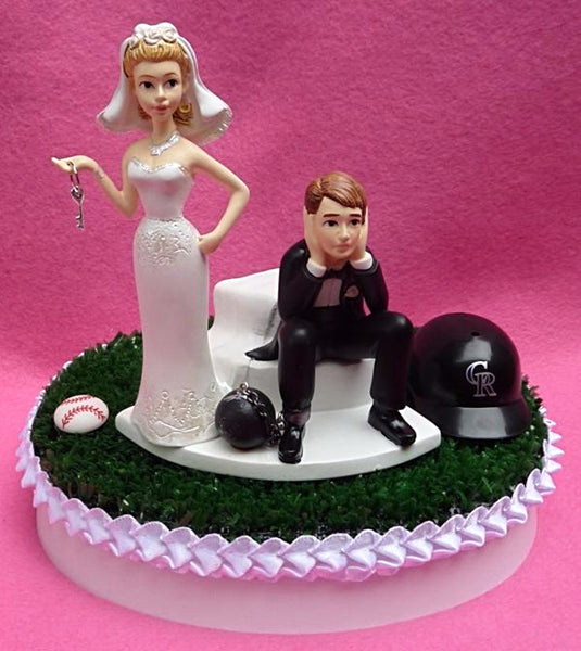 Wedding Cake Topper - Colorado Rockies Baseball Themed Key