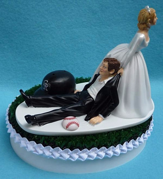 Colorado Rockies wedding cake topper groom's cake top MLB Baseball sports fans fun humorous