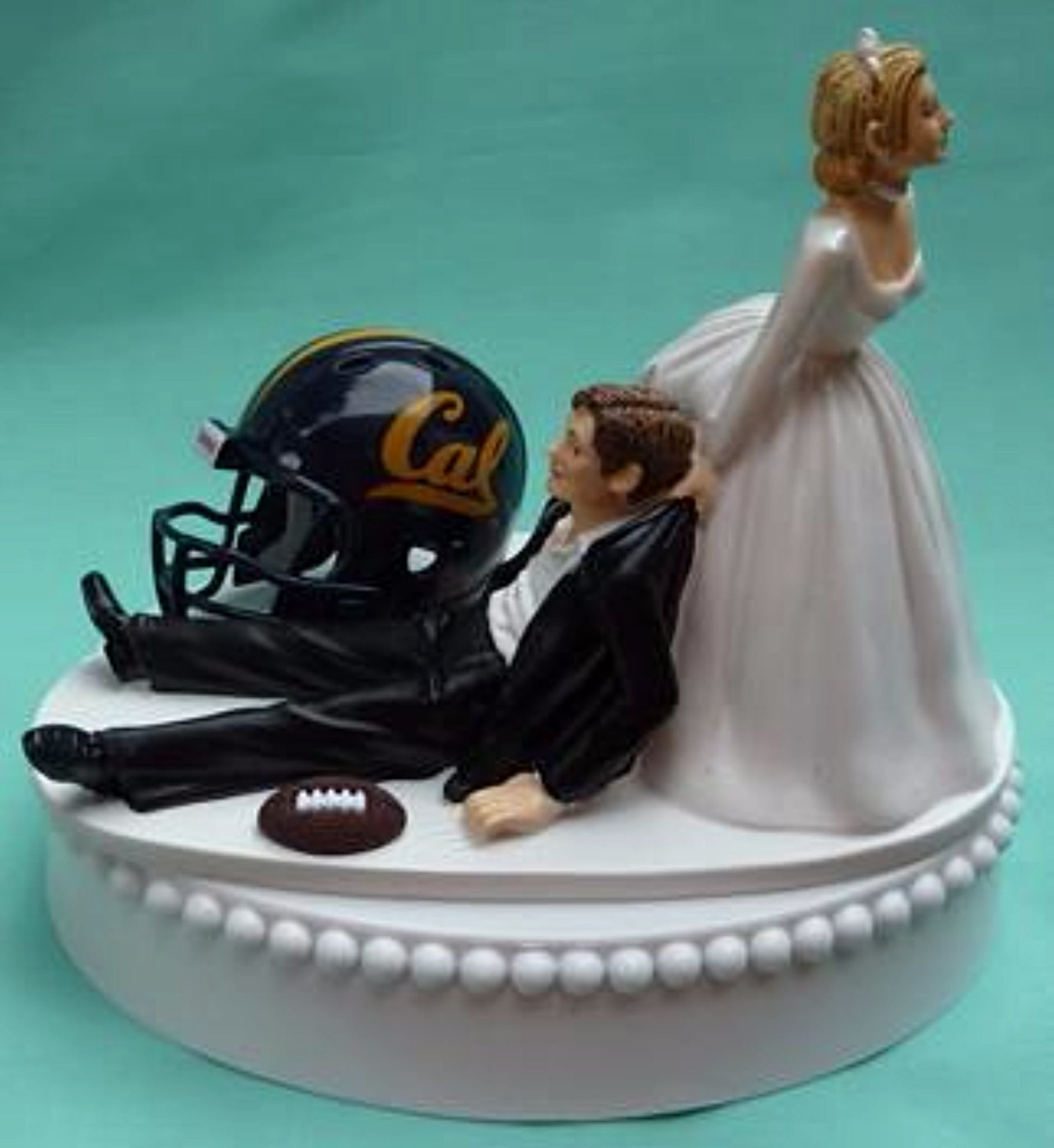 Cal Bears wedding cake topper University of California Berkeley UC Golden Bears football groom's cake top humorous bride dragging groom funny sports reception gift Fun Wedding Things