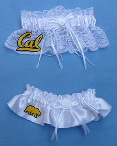 Cal Berkeley Golden Bears wedding garters University of California UC bridal garter set lace satin reception toss fans Fun Wedding Things