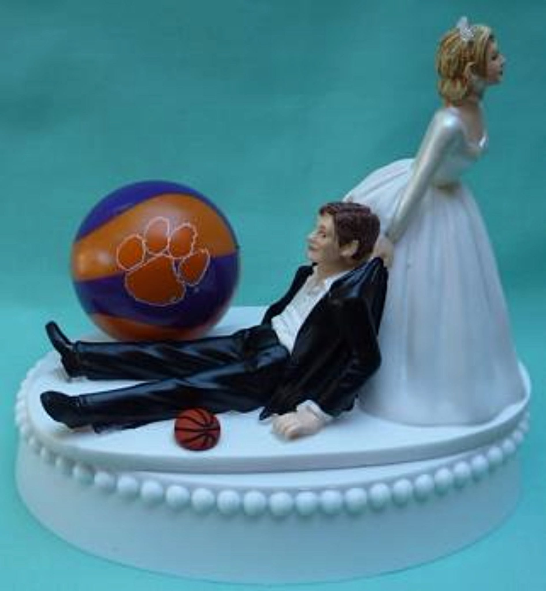 Clemson basketball University Tigers wedding cake topper funny bride groom sports Fun Wedding Things