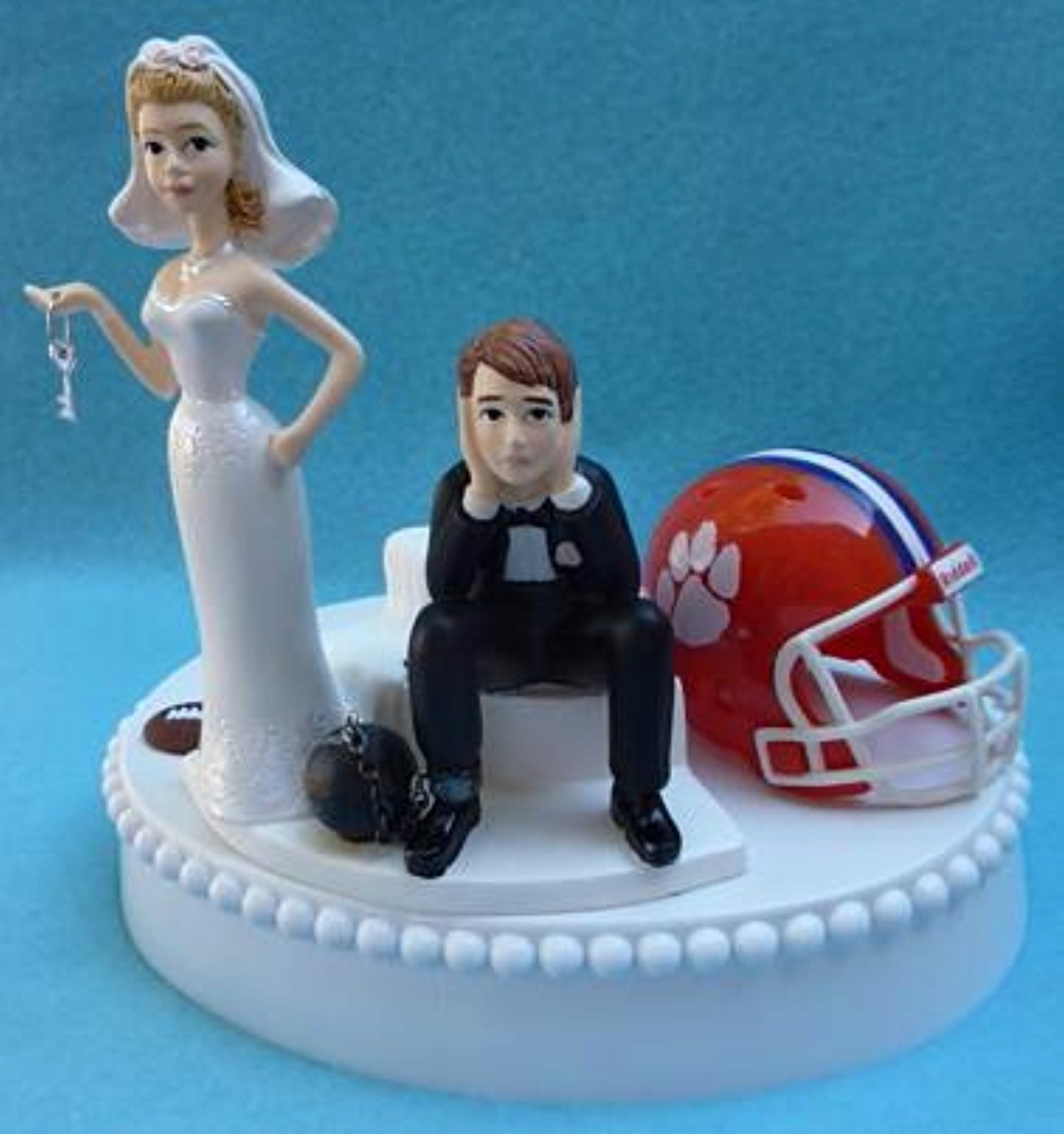 Clemson University Tigers wedding cake topper football humorous bride sad groom ball chain key funny sports fans Fun Wedding Things