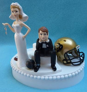 CU Buffs wedding cake topper University of Colorado Buffaloes football humorous bride sad groom key ball chain funny Fun Wedding Things