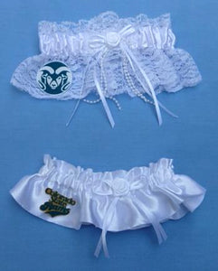 Colorado St. University wedding garter set bridal garters CSU Rams white satin lace ivory toss keep Fun Wedding Things