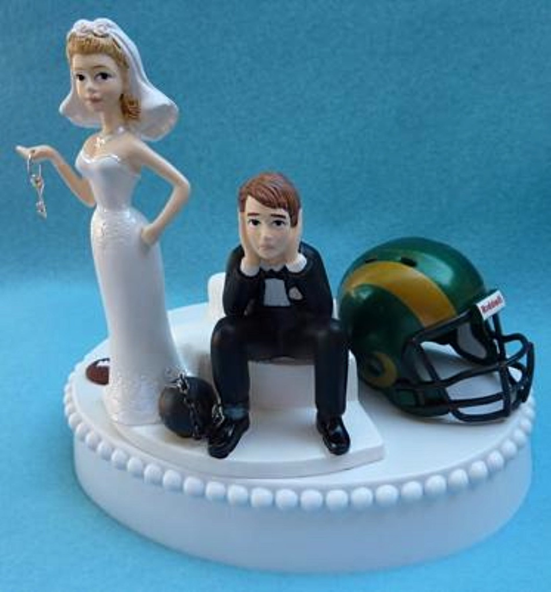 CSU Rams wedding cake topper Colorado St. University football bride sad groom humorous ball chain key funny sports fans Fun Wedding Things