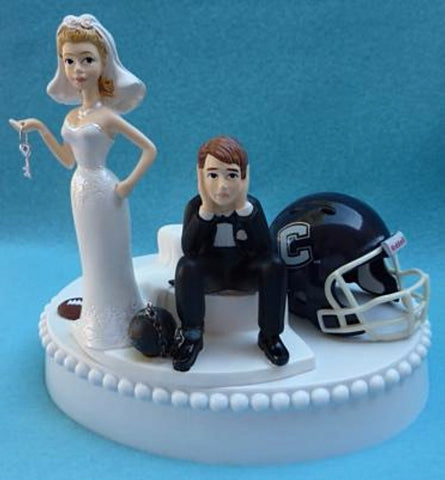 UConn Huskies wedding cake topper University of Connecticut funny bride sad groom ball chain key humorous Fun Wedding Things