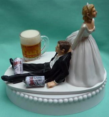 Coors Light beer wedding cake topper Fun Wedding Things drinker cans mug drinking beer humorous funny