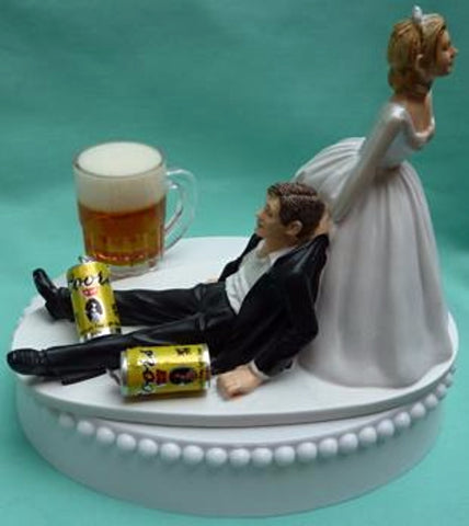 Coors wedding cake topper beer FunWeddingThings.com cans mug drinking bride groom humorous funny