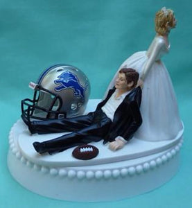 Detroit Lions cake topper wedding NFL football sports fans bride groom FunWeddingThings.com