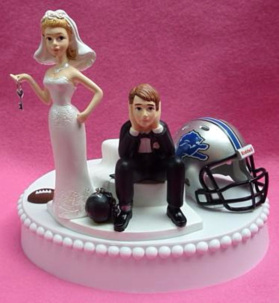 Detroit Lions wedding cake topper ball and chain key bride dejected groom humorous reception funny gift item idea NFL football fans