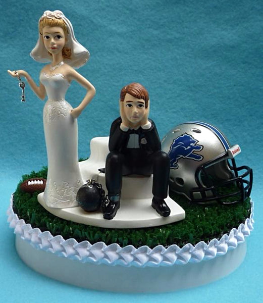 Wedding Cake Topper - Detroit Lions Football Themed Key