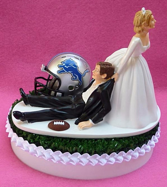 Detroit Lions wedding cake topper funny humorous bride groom dragging NFL football sports fans reception