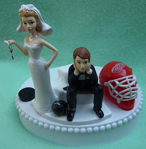 Detroit Red Wings wedding cake topper NHL hockey sports fans bride sad groom humorous puck helmet mask Fun Wedding Things funny reception gift item idea