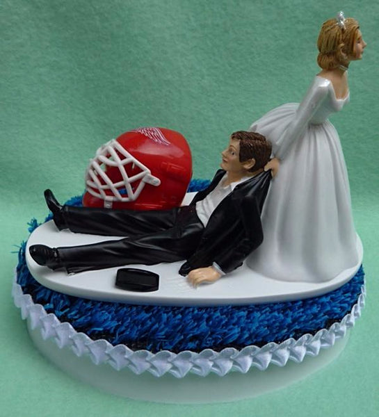Wedding Cake Topper - Detroit Red Wings Hockey Themed