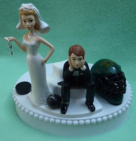 Dallas Stars wedding cake topper hockey bride groom NHL fans sports sporty reception gift item idea party humorous FunWeddingThings.com