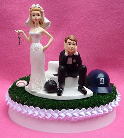 Detroit Tigers wedding cake topper MLB baseball fans funny bride dejected groom ball chain key humorous reception gift item