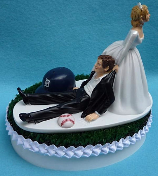 Detroit Tigers wedding cake topper groom's cake top MLB baseball humorous funny sports fans reception