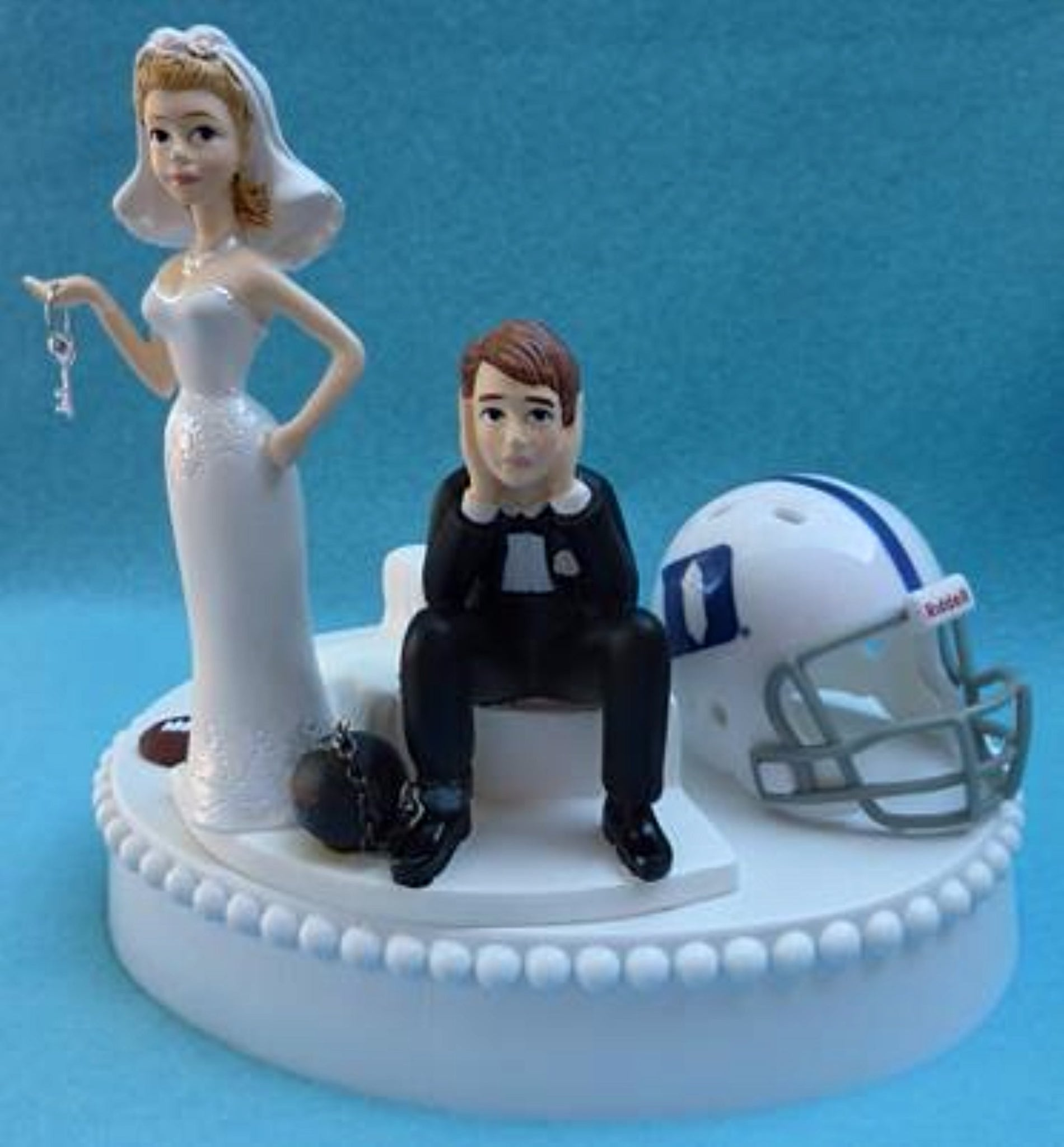 Duke University Blue Devils wedding cake topper football bride sad groom humorous ball chain key funny sports Fun Wedding Things
