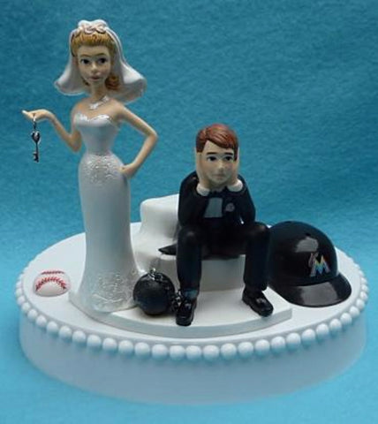 Miami Marlins cake topper wedding MLB baseball sports Florida humorous funny bride sad groom ball helmet chain key reception gift