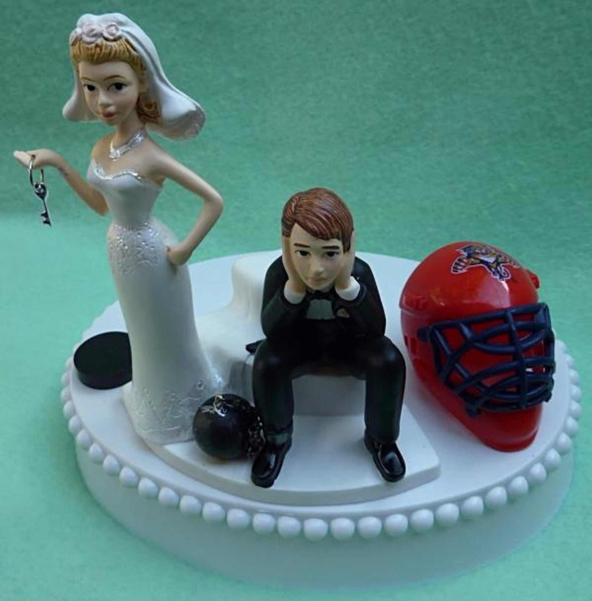 Florida Panthers wedding cake topper NHL hockey sports fans bride groom humorous FunWeddingThings.com funny unique original mask puck helmet