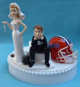 Florida Gators wedding cake topper University of UF football funny bride sad groom ball chain key humorous Fun Wedding Things
