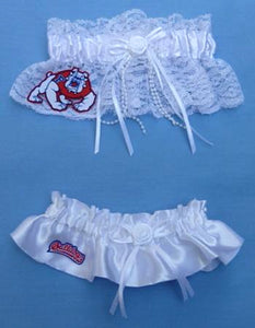 Fresno St. University garter set bridal garters Bulldogs FSU State toss keepsake satin lace Fun Wedding Things