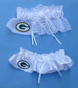 Green Bay Packers Wedding Garters Football NFL Garter Set