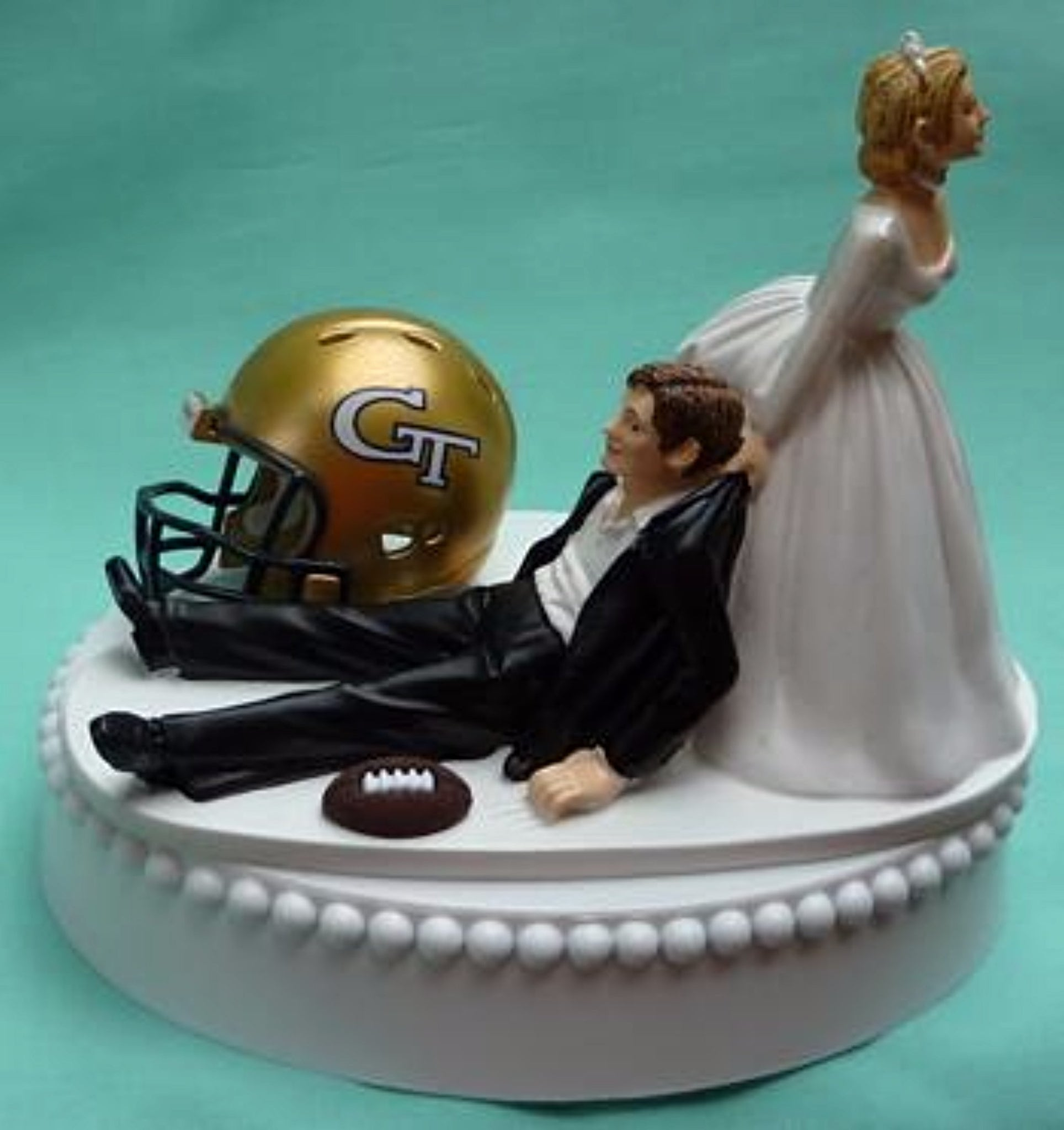 Georgia Tech wedding cake topper GT Yellow Jackets football themed sports fans funny bride drags groom humorous reception gift Fun Wedding Things sporty