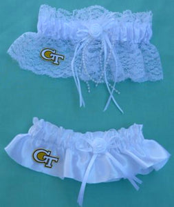 Georgia Tech wedding garter set bridal garters Yellow Jackets GT satin lace keep toss Fun Wedding Things