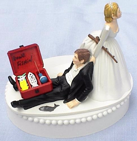 Fishing cake topper wedding fisherman FunWeddingThings.com fish pole box bride dragging groom humorous groom's cake top funny outdoors hobby reception gift