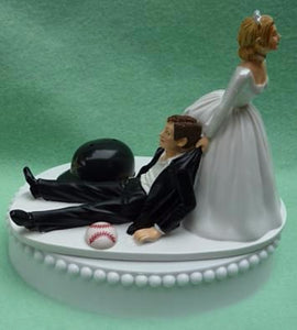 Houston Astros wedding cake topper baseball MLB sports fans fun humorous bride drags groom reception