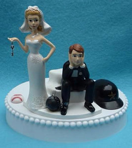 Wedding Cake Topper - Houston Astros Baseball Themed Key (We DO Have and WILL USE the New/Current Helmet...)