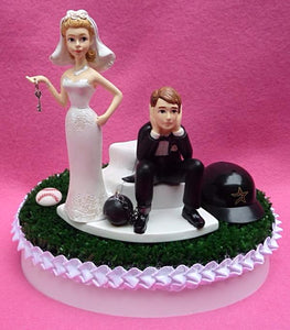 Houston Astros cake topper wedding MLB baseball sports fans bride sad groom humorous funny green turf Astroturf unique reception gift item idea