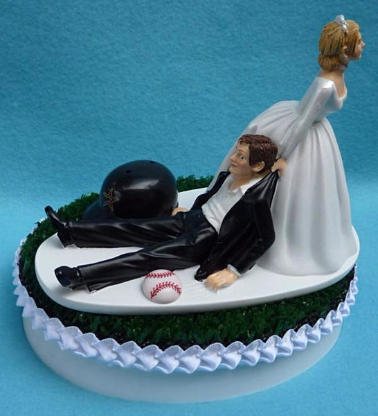 Wedding Cake Topper - Houston Astros Baseball Themed (We DO Have and WILL USE the New/Current Helmet...)