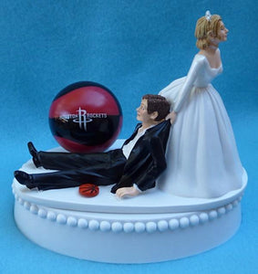 Houston Rockets wedding cake topper sports fans fun bride dragging groom humorous Fun Wedding Things NBA basketball