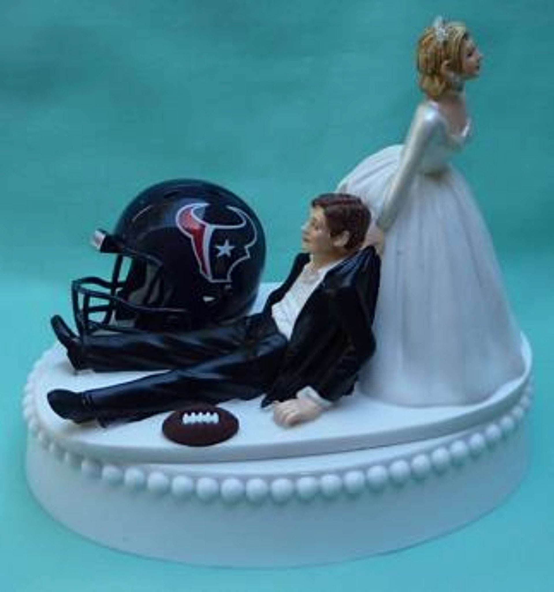 Houston Texans wedding cake topper funny humorous NFL football groom's cake top bride reception
