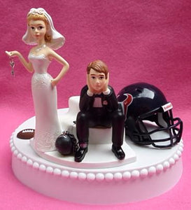 Houston Texans wedding cake topper ball and chain key humorous funny NFL football sports fans bride dejected groom