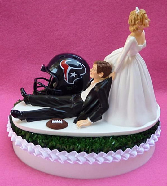 Houston Texans cake topper wedding NFL football sports fans bride groom reception humorous funny unique NLF