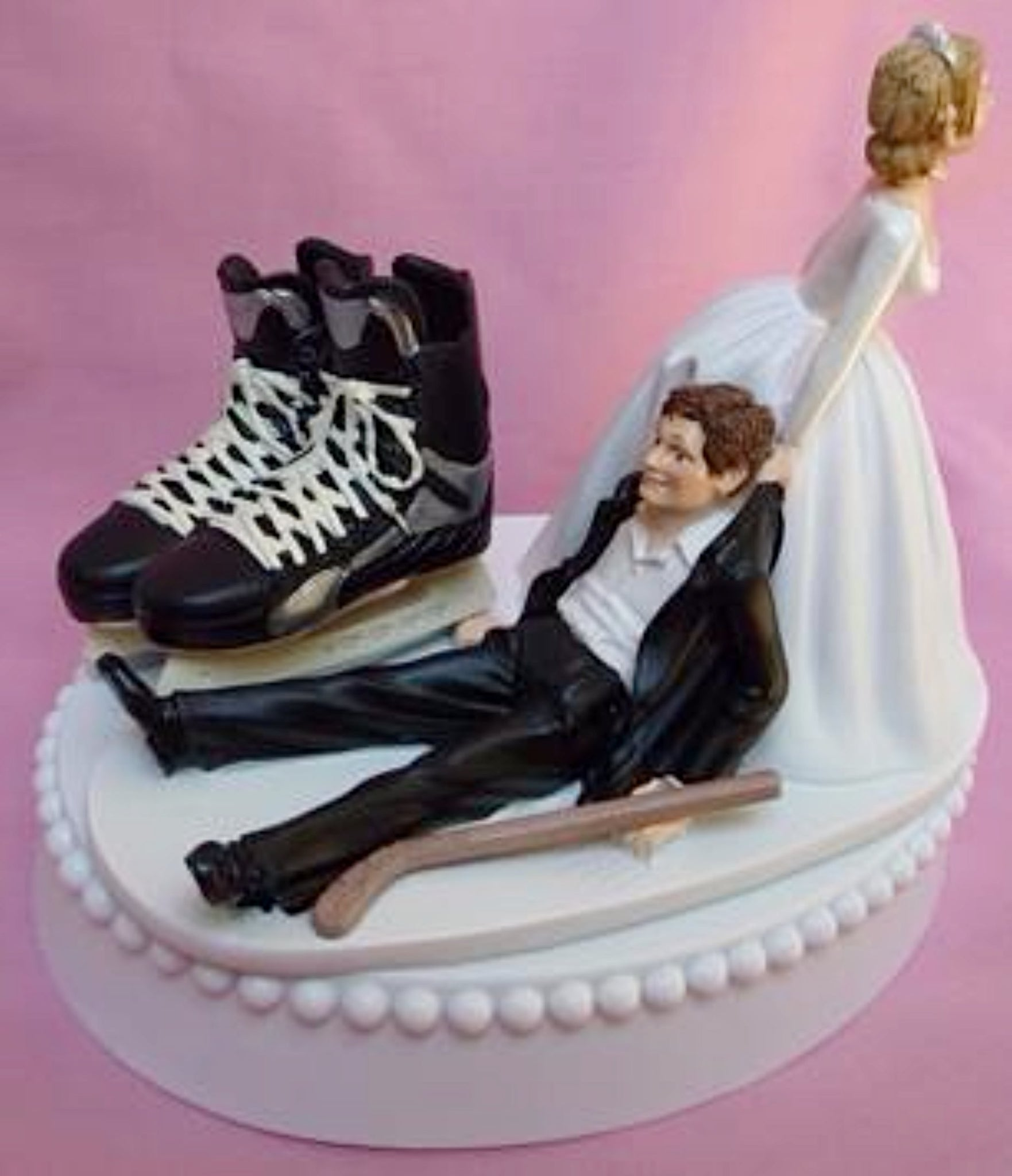 Hockey wedding cake topper skates stick groom's cake topper FunWeddingThings.com sports fan fun