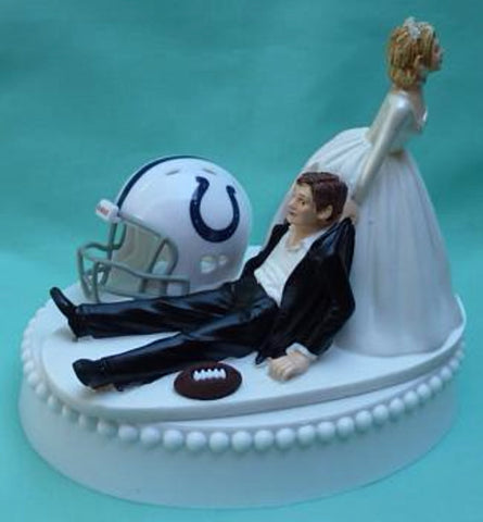 Indianapolis Colts wedding cake topper groom's cake top NFL football sports fans fun reception