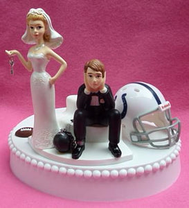 Indianapolis Colts cake topper wedding NFL football sports fans Indy bride dejected groom ball and chain key humorous fun
