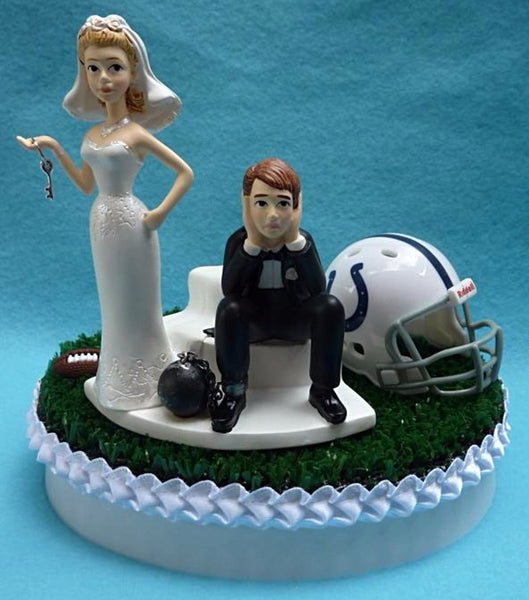 Wedding Cake Topper - Indianapolis Colts Football Themed Key Indy