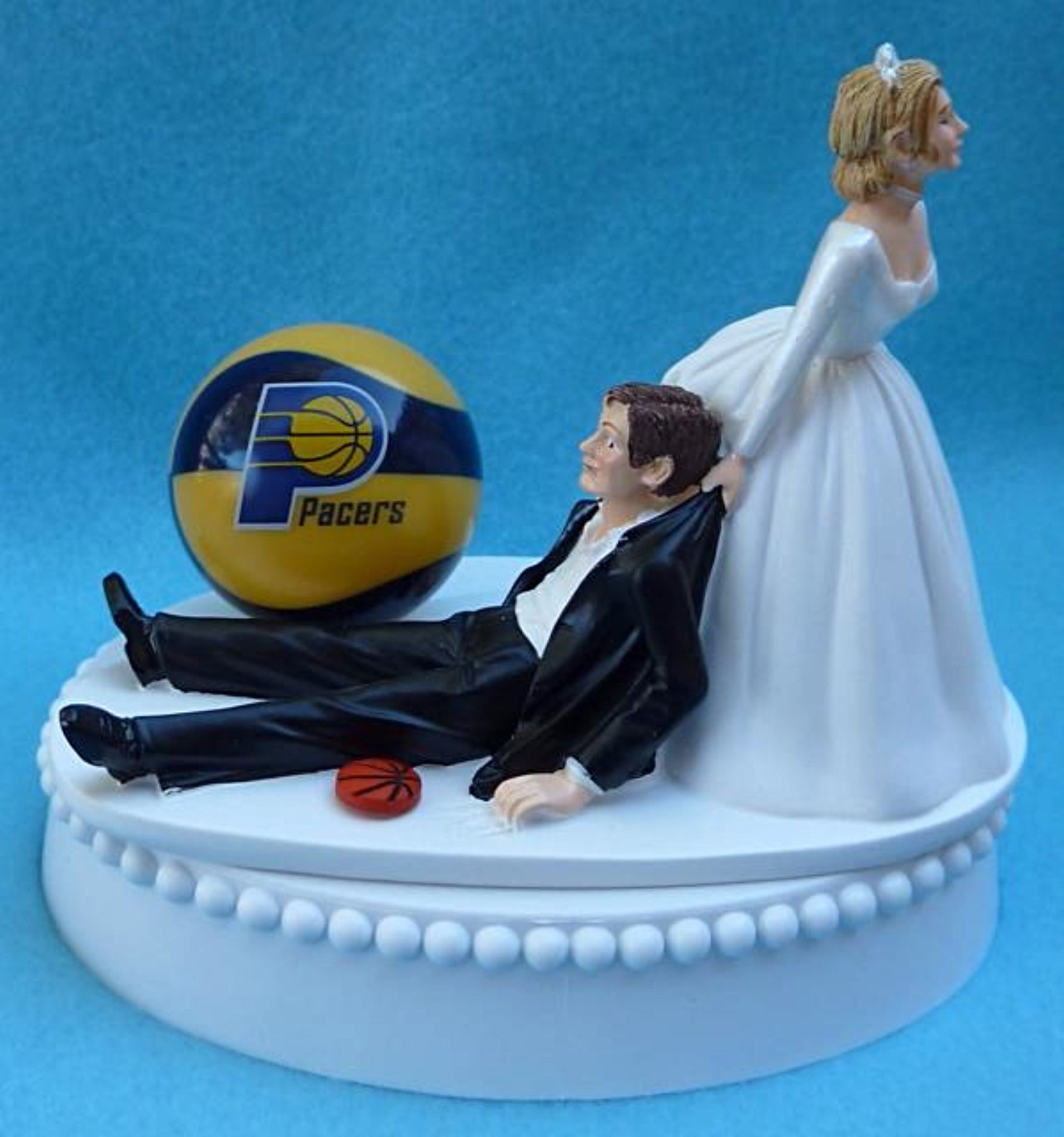 Indiana Pacers wedding cake topper groom's cake top NBA basketball sports fans fun bride groom funny humorous reception