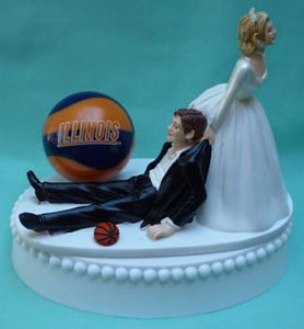 Illinois basketball wedding cake topper University of Illini sports fans bride funny groom humorous Fun Wedding Things