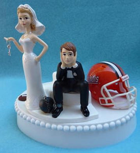 Illinois Illini wedding cake topper University of UI football funny bride sad groom key ball chain humorous Fun Wedding Things