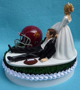 Iowa St. University wedding cake topper ISU Cyclones State football groom's cake top sports fans humorous bride dragging groom reception gift item idea green turf Fun Wedding Things